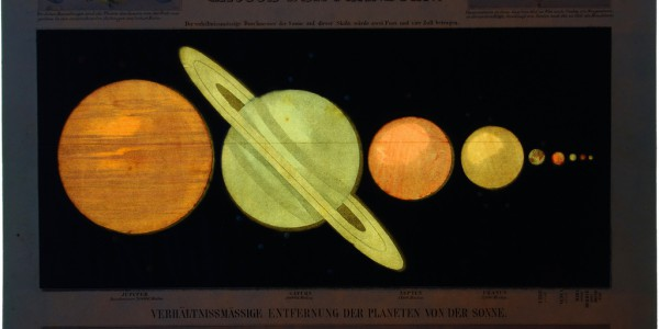 Illuminated illustration of the planets from Astronomic Picture Atlas