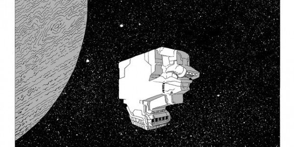 Black and white drawing of a spaceship by Matt Sheean