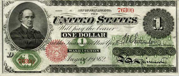 American dollar bill printed in 1862